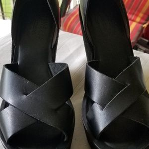 *PRE LOVED* KorkEase Blk Leather  Wedge Sandals